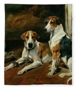 Hounds In A Stable Interior Fleece Blanket