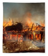 House On Fire Fleece Blanket