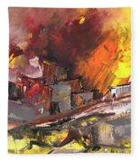 Houses In Fire Fleece Blanket