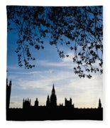 Houses Of Parliament Silhouette Fleece Blanket