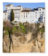 Houses On A Cliff In Ronda Town Fleece Blanket