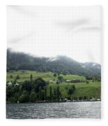 Houses On The Greenery Of The Slope Of A Mountain Next To Lake Lucerne Fleece Blanket