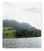 Houses On The Slope Of A Mountain Next To Lake Lucerne Fleece Blanket