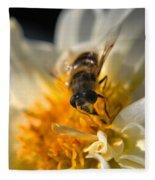 Hoverfly On White Flower Fleece Blanket