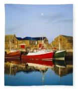 Howth Harbour, County Dublin, Ireland Fleece Blanket
