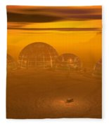 Human Settlement On Alien Planet Fleece Blanket