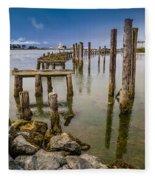 Humboldt Bay Over Darkening Skies Fleece Blanket