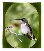 Hummingbird - Gold And Green Fleece Blanket