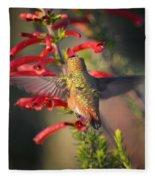 Hummingbird In Flight 1 Fleece Blanket
