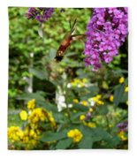 Hummingbird Moth In Flight  Fleece Blanket