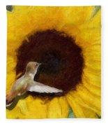 Hummingbird On Sunflower Fleece Blanket