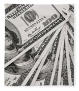 Hundred Dollar Bills Fleece Blanket