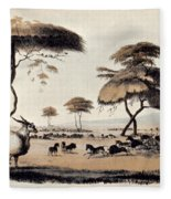 Hunting At Meritsane, Fleece Blanket