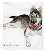 Husky With Blue Eyes And Red Collar Fleece Blanket