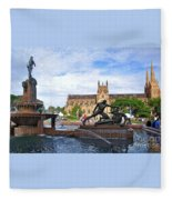 Hyde Park Fountain And St. Mary's Cathedral Fleece Blanket