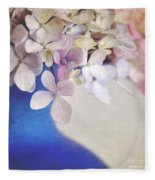 Hydrangeas In Deep Blue Vase Fleece Blanket