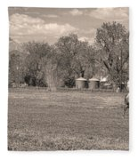 Hygiene Colorado Boulder County Scenic View Sepia Fleece Blanket