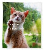 I Want Food Cat Fleece Blanket