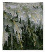 Ice-coated Arborvitae Fleece Blanket