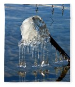Icy Fence Post Fleece Blanket