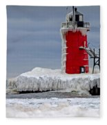 Icy South Haven Mi Lighthouse Fleece Blanket