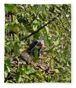 Iguana Hiding In The Bushes Fleece Blanket