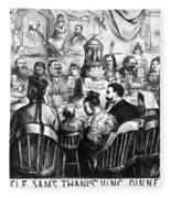 Immigration Cartoon, 1869 Fleece Blanket