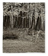 In A Yellow Wood Sepia Fleece Blanket