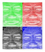 In Your Face In Negative Colors Fleece Blanket