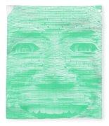 In Your Face In Negative Light Green Fleece Blanket