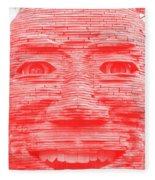 In Your Face In Negative Light Red Fleece Blanket