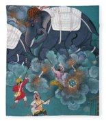 India: Elephant Fight Fleece Blanket