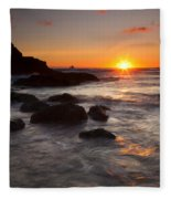 Indian Beach Sundown Fleece Blanket