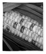 Indian Corn Black And White Fleece Blanket