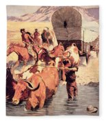 Indians Attacking A Pioneer Wagon Train Fleece Blanket
