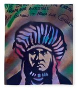 Indigenous Motto Earth Tones Fleece Blanket