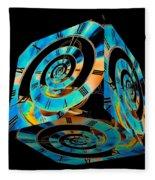 Infinity Time Cube On Black Fleece Blanket