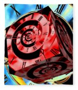Infinity Time Cube Red On Blue Fleece Blanket