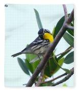 Inquisitive Yellow Throated Warbler Fleece Blanket