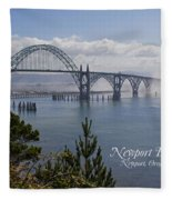 Into The Fog At Newport With Text Fleece Blanket