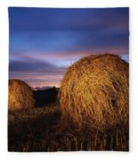 Ireland Hay Bales Fleece Blanket