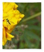 Iridescent Fly On Marygold Fleece Blanket