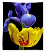 Iris And Tulip Fleece Blanket