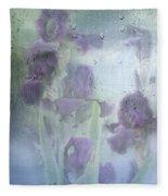 Iris In The Spring Rain Fleece Blanket