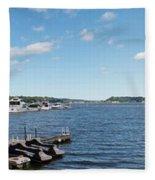 Irondequoit Bay Panorama Fleece Blanket