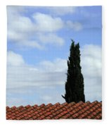 Italian Cyress And Red Tile Roof Rome Italy Fleece Blanket