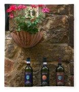 Italian Wine And Flowers Fleece Blanket