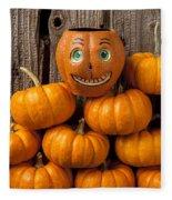 Jack-o-lantern On Stack Of Pumpkins Fleece Blanket