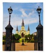 Jackson Square In New Orleans Fleece Blanket