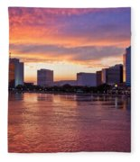 Jacksonville Skyline At Dusk Fleece Blanket